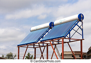 solar water heaters on the roof close up