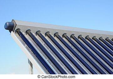 Solar water heating (SWH) systems use solar panels, called collectors, fitted to your roof. Solar thermal collector with dust need to clean. Energy efficiency concept. Solar Hot water panels heating.