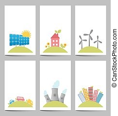Solar, windmills and nuclear power plants banners