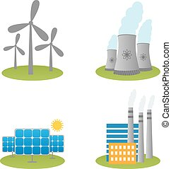 Solar, windmills and nuclear power plants icons