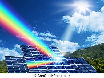 solaranlage, alternative energiequelle, begriff