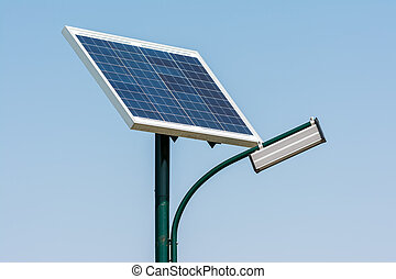 solaranlage, licht, pfahl