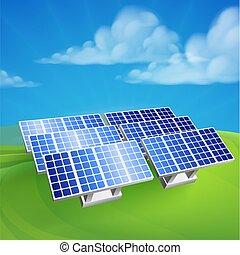solaranlage, macht, erneuerbar, bauernhof, zellen
