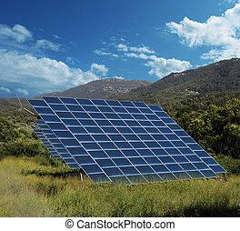 solaranlage, tafel, sammler, landschaft