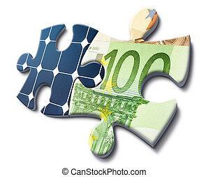 solaranlage, und, geld, einsparung
