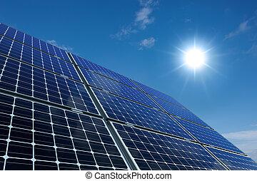 solare, pannelli, contro, uno, soleggiato, cielo