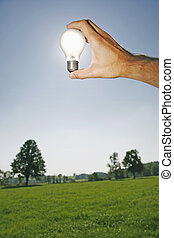 Solarenergy - electric bulb against the sun as a symbol for...