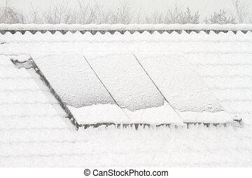 solarer sammler, in, winter