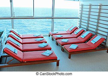 Solarium Lounge Chairs - Empty lounge chairs in the solarium...