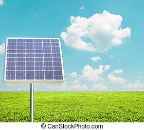 solarmodul, gegen, landschaftsbild, -, grün, energie, begriff