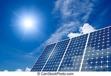 solarmodul, und, sonne