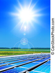 solarpanels under sun - solar cell array in the field,...