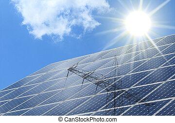 solarzellen, mit, strahlung, ot, der, sonne, und, strommast