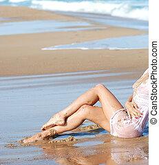 solbränna, ben, in, sand