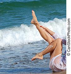 solbränna, ben, på, a, strand