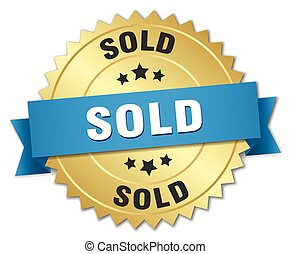 sold 3d gold badge with blue ribbon
