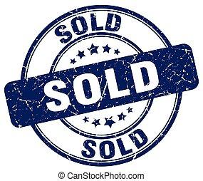 sold blue grunge round vintage rubber stamp
