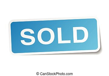 sold blue square sticker isolated on white
