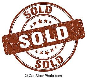 sold brown grunge round vintage rubber stamp