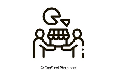 sold business part Icon Animation. black sold business part animated icon on white background