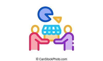 sold business part Icon Animation. color sold business part animated icon on white background