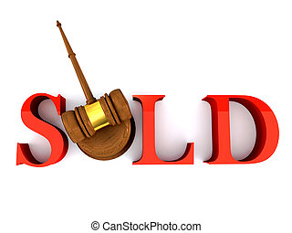 Sold - Classic wooden judge\\\'s gavel and sold word