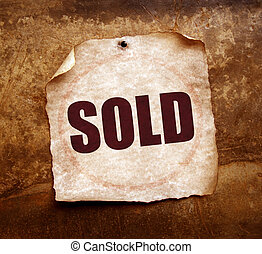 SOLD - Sold word on old paper