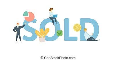 sold., concetto, illustration., appartamento, lettere, icons., isolato, fondo., vettore, keywords, bianco