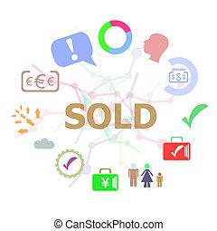 sold., conjunto, palabra, iconos del negocio, texto, tipografía, concepto, plano de fondo, línea
