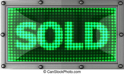 sold  announcement on the LED display