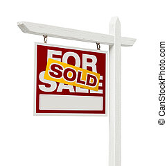 Sold For Sale Real Estate Sign with Clipping Path - Left...