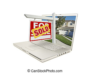 Sold For Sale Sign Laptop - Red Sold For Sale Sign on Laptop...