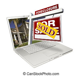 Sold Foreclosure Home for Sale Real Estate Sign & Laptop