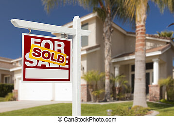 Sold Home For Sale Sign in Front of New House - Sold Home...