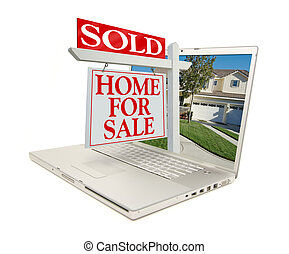 Sold Home for Sale Sign & New Home on Laptop isolated on a ...