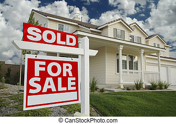 Sold Home For Sale Sign & New Home - Sold Home For Sale Sign...