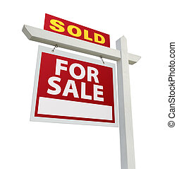 Sold Home for Sale Sign on White - Sold Home For Sale Real...