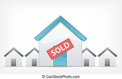 Sold Home. Vector EPS 10. - Sold Home Concept. Grey Gradient...