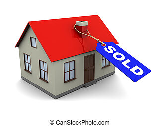 sold house - abstract 3d illustration of house with blue tag...
