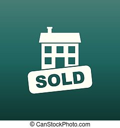Sold house icon. Vector illustration in flat style on green background.