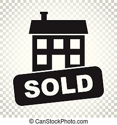 Sold house icon. Vector illustration in flat style on isolated background. Simple business concept pictogram.