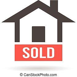 Sold House Logo. Vector graphic design