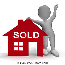 Sold House Means Successful Offer On Real Estate - Sold...