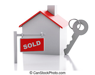sold house sign on white background. Real estate concept