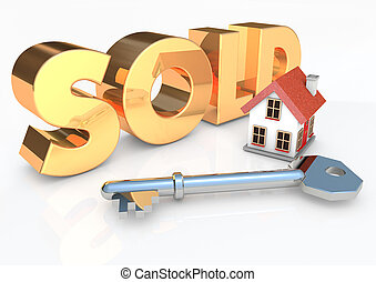 Sold house with key 3D