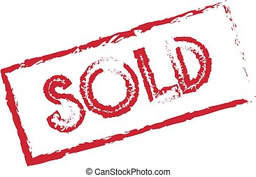Sold icon on white background, flat style.