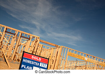 Sold Lot Sign at New Home Construction Site
