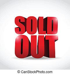 sold out 3d text sign illustration design