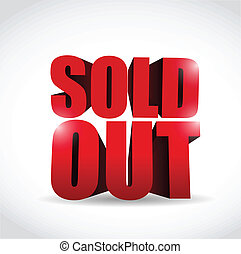sold out 3d text sign illustration design