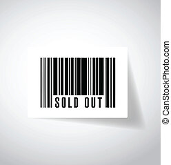 sold out bar code illustration design over a white...